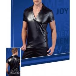 Chemise noire homme manches courtes