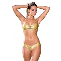 Bikini tanga lycra argent ou or