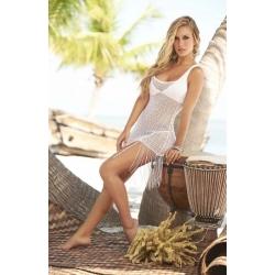 Robe de plage blanche à franges