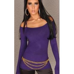 pull fin violet décolleté épaules