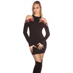 Mini robe pull sexy noire à manches longues