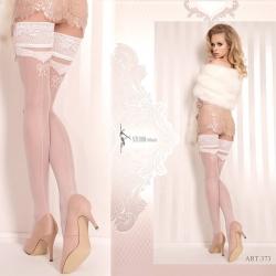 Bas blanc couture jarretière dentelle luxe