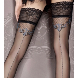 Bas noir jarretière luxe couture et motifs bleu gris