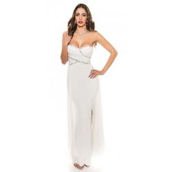 Longue robe de soirée drapée blanc ivoire