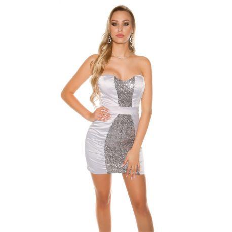 Mini robe sexy de soirée argent coupe bustier