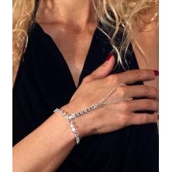 Bracelet créateur en strass et argent